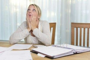 Woman with financial stress
